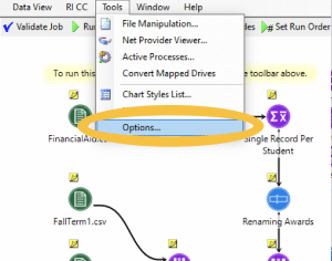 Tools options in Construct