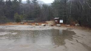 The current weather conditions at a trailhead near our headquarters in New Hampshire.